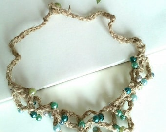 jute and necklace beads in shades of azure blue sea/necklace