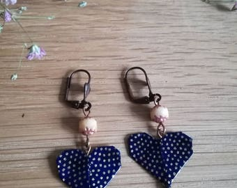Earrings dark blue origami heart with gold dots