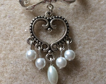 Silver heart and pearl drop brooch handmade