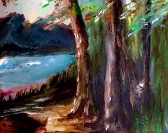 Acrylic painting | Handmade | Wall Hanging | Wall Art | Home Decoration | Lake | Nature | Trees | Gift | Present