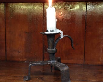 Vintage Wrought Iron Candle Holder 1940s