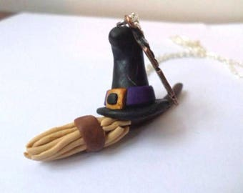 Necklace witch hat and broom Halloween Fimo