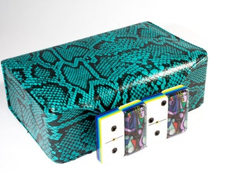 Girl Before a Mirror by Pablo Picasso Jumbo Domino Double Six, 5 Coats 100% Acrylic. Deluxe Leather Case