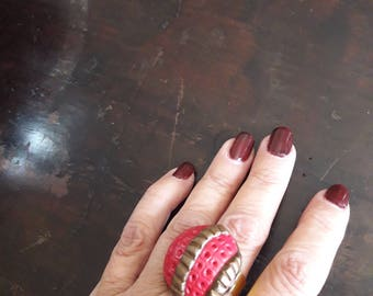 Ring fimo red and bronze-gold adjustable base
