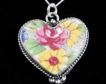 antique china heart pendant and chain