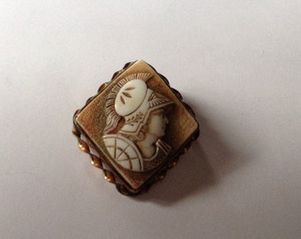 Old Victorian Glass Gladiator Cameo Brooch