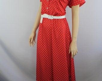 80s dress XL, vintage 1980s red dress, polka dot dress, vintage 80s dress, belted dress, red white belted dress, 1980s XL extra large 16 16W