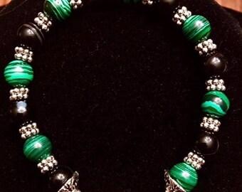 Malachite and Onyx Bracelet