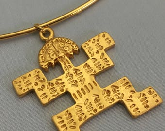 Pectoral Shaman PreColumbian SMALL Gold Statement Necklace- Colombia- 24K Gold Plated
