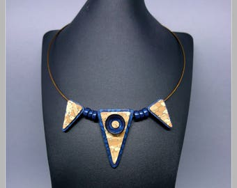Necklace with pendant effect Cork and blue cosmos