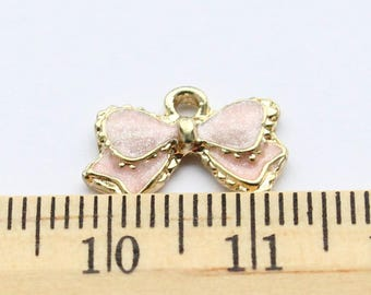 5 Pink Bow Charms