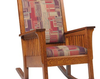 Solid Mission Arts & Crafts Stickley Style Rocker - Handmade in USA!