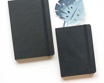Couple Of Two Black Minimalist Notebooks Eco Leather Cover Eco Friendly Sketchbook Blank Pages Dot Grid Bullet Journal Notebook