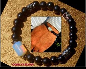 BRACELET homme perles Pierre OPALE, Hématite, argent ;Bracelet unisex boho, mala, Cristaux guérison,cadeau homme Noel, Camelys bijoux
