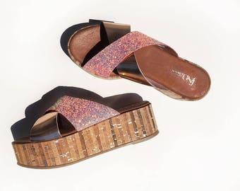 Flatform leather shoes