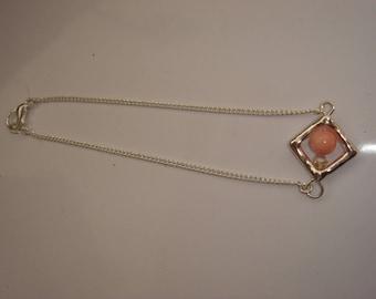 Pink fine Pearl pendant silver chain bracelet