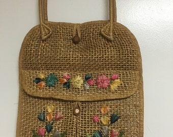 Vintage 70's straw purse