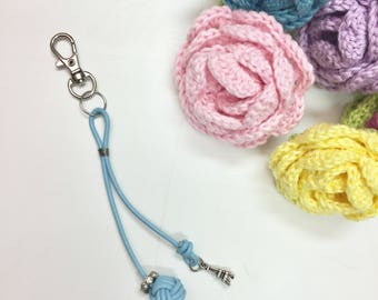 Monkey fist knot planner charm / purse charm / key ring with eiffeltower