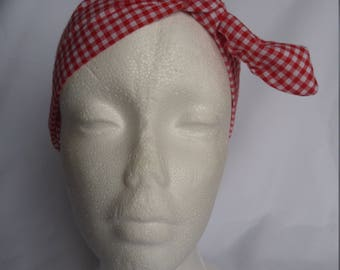 This headband, red and white gingham