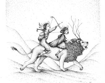 RIDING INTO BATTLE - Archival Print - Giclee Print - Narnia Artwork - The Lion, the Witch and the Wardrobe - drawing - illustration
