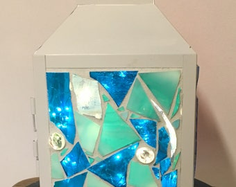 Outdoor Lantern - White and Turquoise