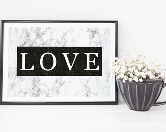 Black and Marble Love Print