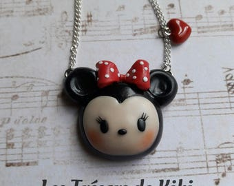 Handmade necklace girl Disney Minnie Fimo polymer clay.