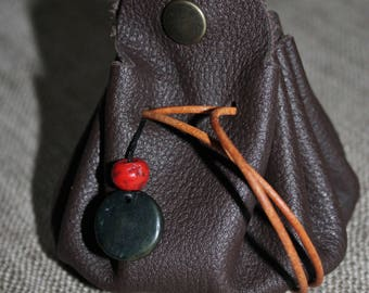 Chocolate brown soft leather purse