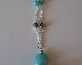Necklace Turquoise and White Drop