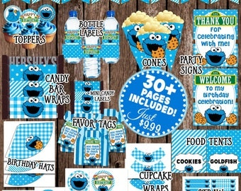 Cookie Monster Party, Cookie Monster Birthday Decorations, Cookie Monster 1st Birthday, Printable Sesame Street Party Kit, Charm Bits Design