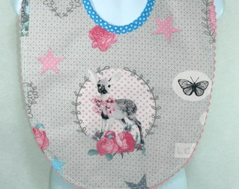 Cotton bib with pink and grey Bambi.
