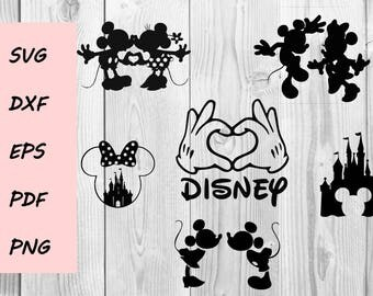 Mickey and Minnie SVG DXF PNG cutting file, Printable, T-shirt Design, Scrapbooking Clipart
