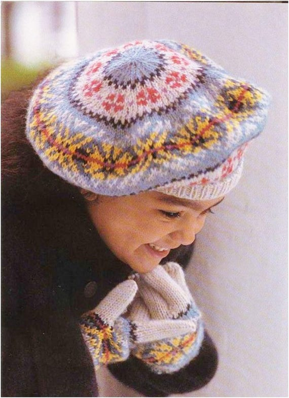 Vintage Knitting Pattern to make Fair Isle Beret and Gloves.