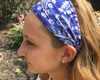 Blue Paisley Headband