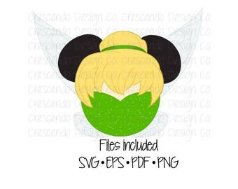 Disney Tinkerbell Mickey Head SVG, Eps, Pdf, Png for Cricut Iron-On Decal Cutting File/Clip Art, Disney Family Shirt, Disney Vacation