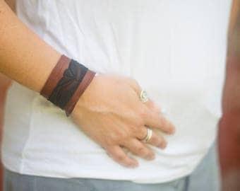 genuine Brown Leather Cuff with sheer black lace ribbon trim bracelet adjustable size Women's feminine