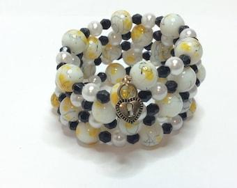 Wrap Bracelet, Beaded Bracelet, Yellow & Black Bracelet, Charm Bracelet, Gift For Her, Statement Bracelet