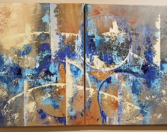 "Original Abstract Painting Acrylic Art Textured Wall Decor On Canvas 24x12in ""Diptych"""