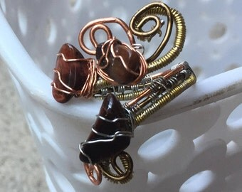 Tiger Eye Ring-Copper Ring-Wire Wrapped Ring-Red Brown Stone-Gift-Crystal Healing-Protection Stone-Adjustable Ring-Magic Ring-Natural Stone