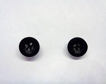 Cute Miniature Black Button Ear Studs,Button Ear Studs,Crafting Ear Studs,Button Ear Jewelry,Gifts For Her
