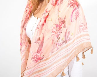 Monogram Scarf,Floral Spring Scarf,Peach Cream Scarf,Square Scarf Women,Ladies Wraps Shawls,Personalised Gift,Gift for Her,Scarves UK