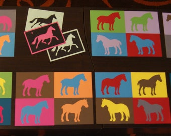 Pop art - set postcards - horses multicolor