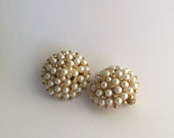 Pearl & Rhinestone Cluster Vintage Earrings