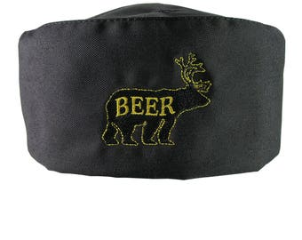 Humorous Deer Bear for Beer Embroidery on an Adjustable Cook Style Black Pillbox Hat