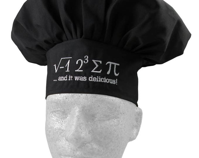 I Ate Some Pi And It Was Delicious Embroidery on an Adjustable Restaurant Wear Black Chef Hat Toque
