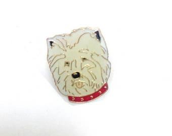 Cute vintage enamel pin badge of a West Highland Terrier