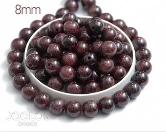 Natural garnet beads 8mm Red gemstone beads Smooth garnet beads Natural round bracelet beads Jewelry making bead / 10 beads About 7-8 cm