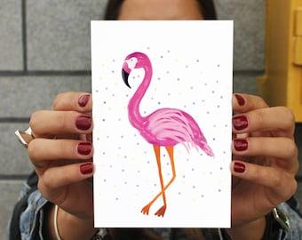 Flamingo art print  Birthday Card - For Him Her Bestfriend Friends - Cute Birthday Cards Best Friend Handmade - Bestselling Cards