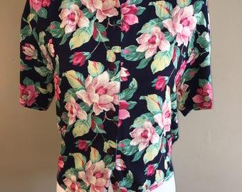 Vintage Floral Tie Blouse