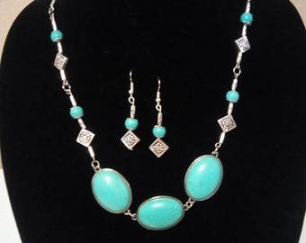 Silver and Turquoise dyed Howlite 3 pc Set